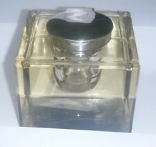 Large Vintage Art Deco Glass Paper Weight & Silver Inkwell - Birmingham 1920