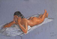 Jack Marshall Vintage 1960's Nude Female Pastel Sketch Drawing