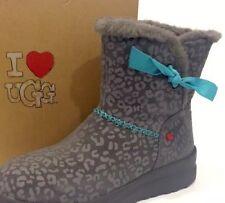 UGG Kisses Mini boots Gray Leopard Print Suede 11M 100% Authentic