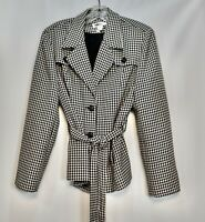 Women's Jones & Co Black White Houndstooth Belted Button Front Jacket Blazer 12
