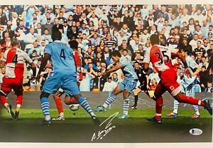 Manchester City Sergio Aguero Signed 12x16.5 Photo Auto BAS Beckett COA