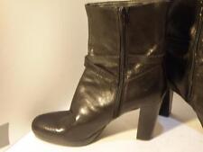 "Nine West ""Varina"" black leather high heel platform boots, great cond, size 11 M"