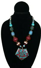 New Handmade Boho Chic Red & Turquoise Tribal Bead Necklace w/Statement Pendant