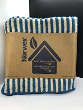 NORWEX BODY & FACE CLOTHS TEAL VANILLA STRIPES 3 PACK MICROFIBER BACLOCK