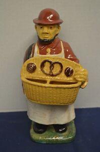 Vintage French Ceramic Folk Art Figure of a Pretzel Seller