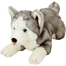Suki Yomiko Classics Medium Plush Life Like Husky Resting Dog Teddy Bear Gift