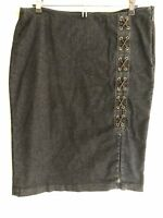 Lauren Ralph Lauren Size 8 Women's Pencil Skirt Jean Denim Lace Up Stretch Zip