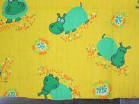 Vintage 70s Hippopotamus Hippo Fabric Remnant Yellow Green Cotton Flower Novelty