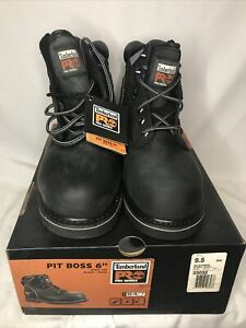 """Timberland Pro Pit Boss 6"""" safety toe size 9.5 Steel Toe Work Boots New"""