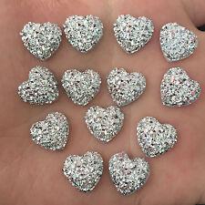 40PCS 12mm AB Resin Bling heart stone flatback Scrapbooking phone Wedding D500