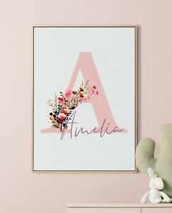 Personalised Name Cute Unicorn Pastel  Print Poster A4 Baby Bedroom