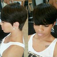 """8"""" Short Human Hair Wigs Pixie Cut Brazilian Hair Wig Natural Black Wig Straight"""