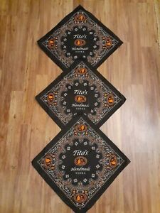 3* Tito's Handmade Vodka Bandana Scarf Handkerchief 21x21 Black Orange Paisley