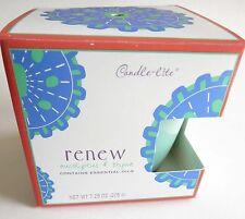 "Candle-lite RENEW Eucalyptus & Thyme Wax Candle Aqua Blue 3"" Tall Glass Jar NIB"