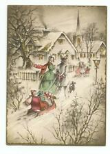 Vintage Greeting Card Victorian Family Wife Dad Pulling Kids Sleigh Presents Dog
