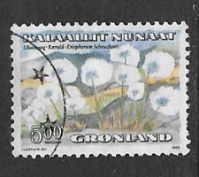 GREENLAND ISSUE -  FLOWERS GRASS 1989 USED COMMEMORATIVE STAMP  5.00Kr VALUE
