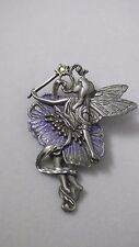 Vintage JJ Signed Fairy Pewter Brooch Pin With Wand and Purple Glitter Skirt