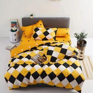 4pcs/set Classic Geometric Stripe Duvet Cover Flat Sheet Pillow Case Bedding Set