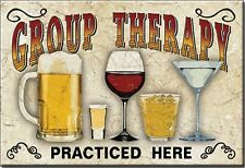 """Group Therapy Drinking Humor Novelty 2"""" x 3"""" Metal Refrigerator Toolbox Magnet"""