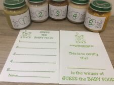 Guess the Baby Food Baby Shower Game Pale Green Neutral