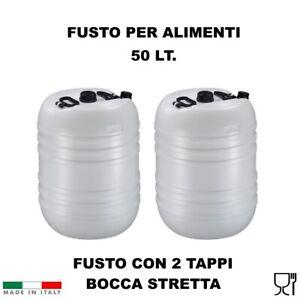 FUSTO CONTENITORE BOCCA STRETTA IN PLASTICA 50 LT PER ALIMENTI CON 2 TAPPI