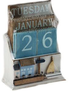 Nautical Wooden Perpetual Calendar Desk Top Eternal Calendar Blocks - Boat House