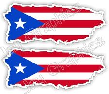 (2) Flag of Puerto Rico Hard Hat Stickers | Motorcycle Helmet Laborer Decals