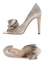 53c1d1b847e NEW Valentino Snakeskin Bow Peep Toe Platform Pumps Heels Shoes 37EU RARE   1
