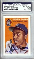 Hank Aaron Signed Autographed Baseball Card 1991 Topps 1954 Reprint Braves PSA