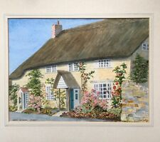 Original Signed Contemporary Watercolour Painting Cottage North Chideock Dorset
