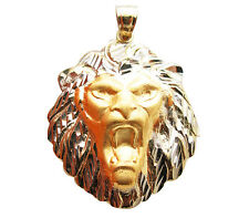 10K Two Tone Gold  Lion Head Charm Diamond Cut Lion Face Pendant 1.7 inch