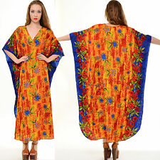 Vtg 70s DRAPED Floral DEEP-V Hippie Boho CAFTAN Festival MAXI DRESS Gypsy ETHNIC