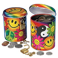 NEW Hippie/Flower Smiley Face Coin Money Bank Toy Lock Saving Cash Safe Box Keys