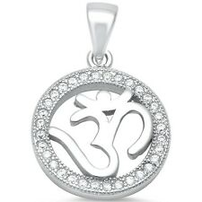 Micro Pave Cubic Zirconia Om Sign .925 Sterling Silver Pendant
