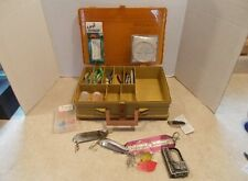 Vintage MAGNUM PLANO Fishing Tackle Box w/51 Pc.Trout & Salmon Tackle NR