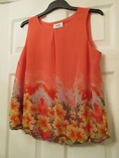 LADIES PRETTY PINK /CORAL FLORAL SLEEVELESS TUNIC TOP SIZE M (12/14) BY WALLIS