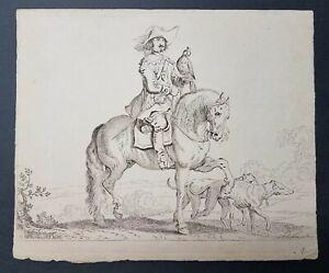 "1785 ""Falconer On Horseback"" Etched in Reverse by JH Tischbein II after de Jonge"