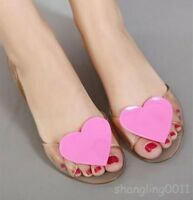 Ladies Womens Beach Sandals Flat Casual Jelly Heart Transparency Open Toe Shoes