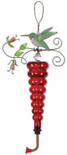 """Birds of a Feather"" Painted Metal & Red Glass Bottle Hummingbird Nectar Feeder"