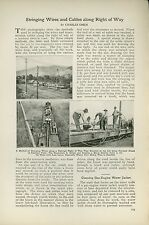 1921 Magazine Article How Northern Pacific Railway Strings Electric Wire Cables