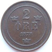 SCHWEDEN 2 ÖRE 1878 (KM 735) SMALL LETTERS in SEHR SCHÖN+++ SELTEN !!!