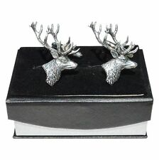 Stag's Head Cufflinks in Fine English Pewter, Handmade, Gift Boxed, shooting