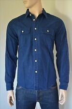 NEW Abercrombie & Fitch Chamois Military Brushed Flannel Shirt Navy Blue Slim S
