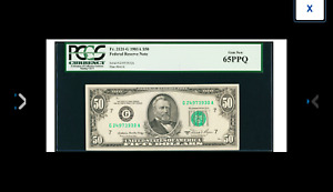 PCGS Gem New 65PPQ. Fr. 2121-G CHICAGO $50 1981A Federal Reserve Note.