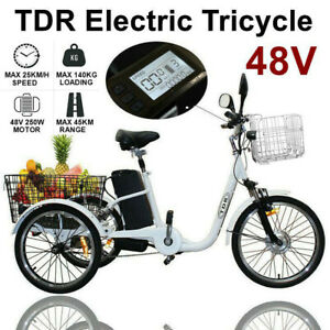 White Electric Trike Tricycle 3 Wheel Ebike Front Rear Basket Carbo Etrike 48V