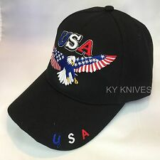 USA AMERICAN BALD EAGLE PATRIOTIC EMBROIDERED BASEBALL CAP HAT HT-730 BLACK -SA