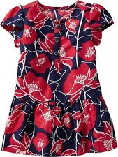 NWT Old Navy Baby Girls Floral Tulip-Sleeve Dress 6-12 Months Blue Red NEW