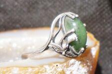 Vtg.Brutalist Art Deco Green Jade Jadeite Gem-stone Lady Ring Sterling Silver