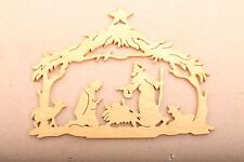 Scroll Saw Cut Home Made Christmas Nativity Scene Wood Manger Stable Creche