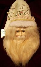 "Santa Wall Decor, Creme Beard - Beaded, Embroidered & Faux Fut Hat 14""T x 8"" W"